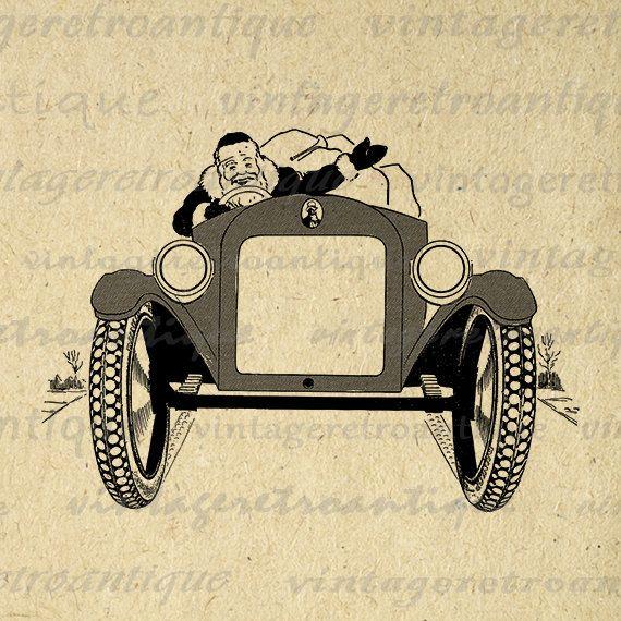Printable Graphic Santa Claus Driving Antique Roadster Car Digital Christmas Image Download Vintage Clip Art 18x18 HQ 300dpi No.3461 @ vintageretroantique.etsy.com