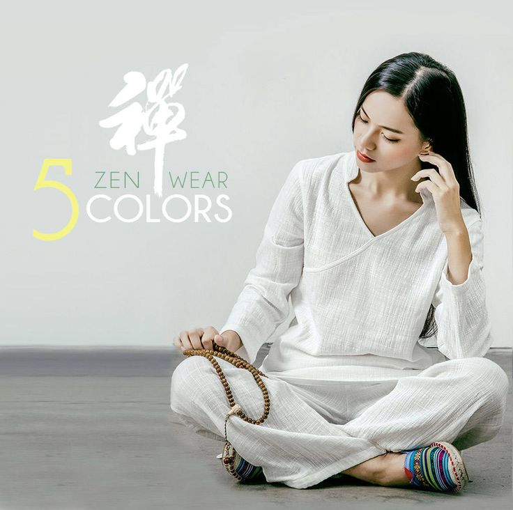 Free Shipping - Women V-Collar Zen Yogo Clothes / Tai Chi Clothes  / Meditation Clothes / Home loungewear