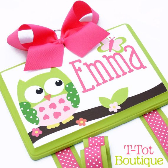 SALE - Custom Hand Painted Boutique Childrens Hair Bow Holder Personalized OWL Circo Love n Nature - MEDIUM on Etsy, $45.95