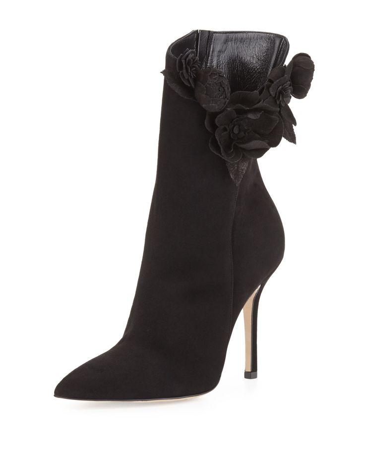 Carmen Suede Flower Ankle Boot, Black, Women's, Size: 39.5 EU (9.5B US) - Oscar de la Renta