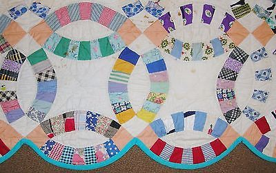 """1930s Double Wedding Ring QUILT vintage feedsack & shirt prints all hand, 72x84"""""""