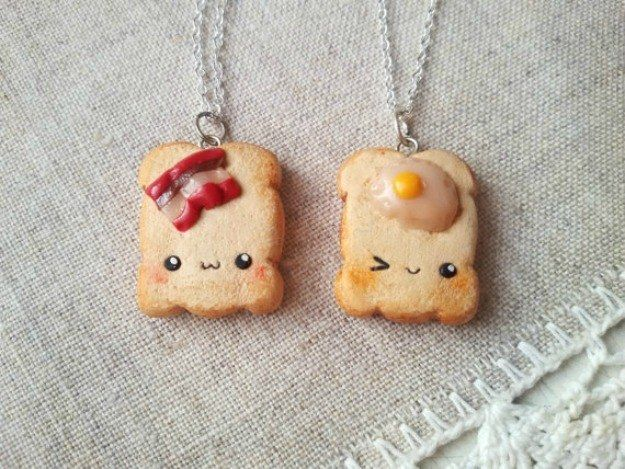 Share these adorable bacon and egg friendship necklaces. | 18 Incredibly Cute Ways To Cover Yourself In Sandwiches