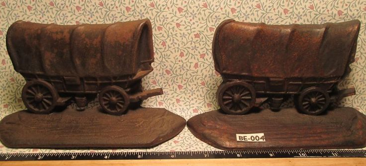 ANTIQUE Covered Wagon BOOK ENDS with BRONZE Finish Maker Marked Copy T WH Howell