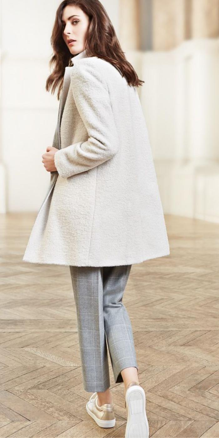 Manteau laine bouclee bleu