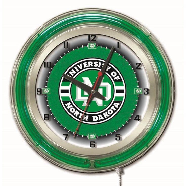 North Dakota Fighting Hawks 19-Inch Neon Logo Clock