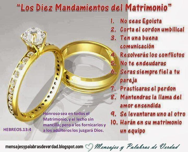Mandamientos Del Matrimonio Catolico : Mensajes y palabras de verdad matrimonio cristiano