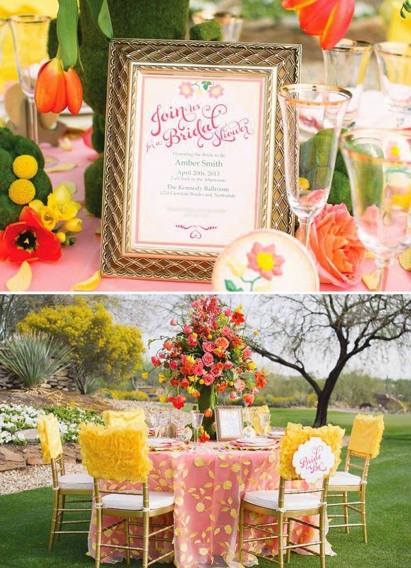 bridal shower themes for spring%0A Beautiful Yellow  u     Coral Garden Bridal Shower    Hostess with the Mostess