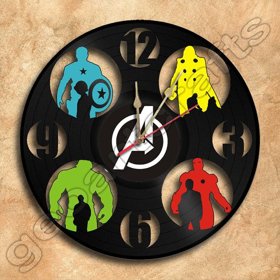 Wall Clock Avengers Vinyl Record Clock Upcycled Gift Idea on Etsy, $44.05 CAD