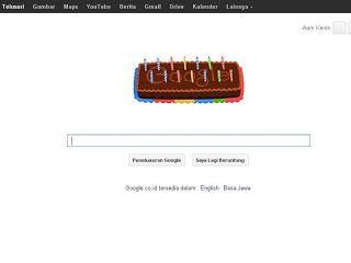 Info Tentang Google : Ulang Tahun Google ke 14 Ditandai Dengan Animasi Doodle    Ulang tahun ke-14 Google adalah menjadi tema dari doodle terbaru. Doodle Google dimulai dengan kue dengan 14 lilin. Setalah lilin ditiup, kue berubah menjadi logo Google dengan 14 lilin dibawahnya.