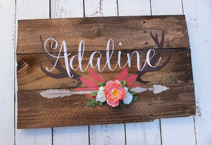 Rustic Large Nursery Name Arrow and Antlers personalized reclaimed pallet wood sign little girl room boho flowers hand painted by WehuntWoodDecor on Etsy https://www.etsy.com/listing/385914220/rustic-large-nursery-name-arrow-and