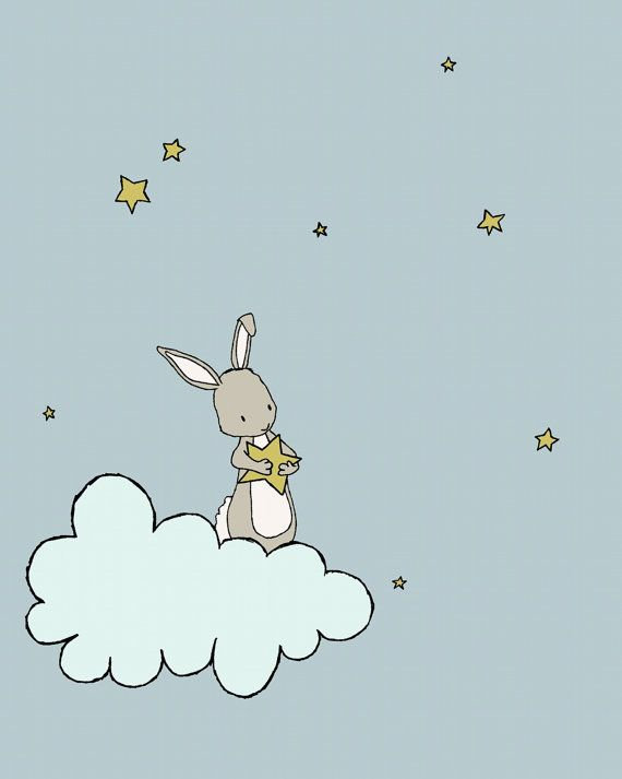 Bunny Nursery Art Bunny Cloud Stars This sweet little bunny caught a precious star and is ready to make a wish. *Be sure to select your