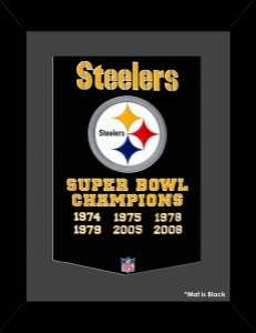 Framed Pittsburgh Steelers Super Bowl Champions Dynasty banner.