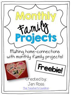 Monthly Family Projects – crafts and writing extensions for teach month. Try Feb… – Family involvement