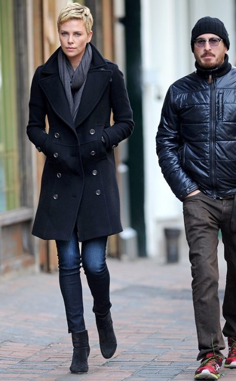 Charlize Theron looking very casual yet sharp. Love this wool coat.