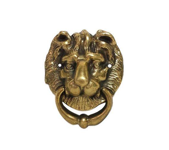Brass Lion Head Door Knocker Drawer Pull Towel Ring Holder
