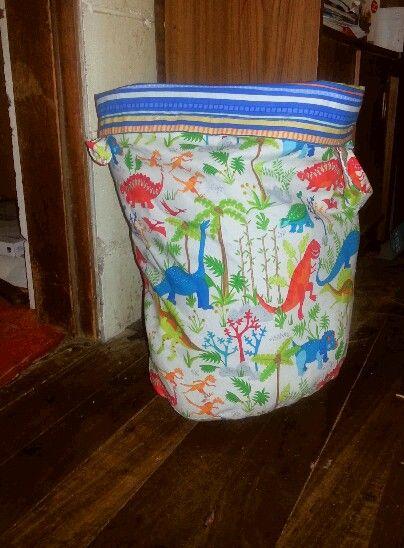 Reversible fabric toy box.