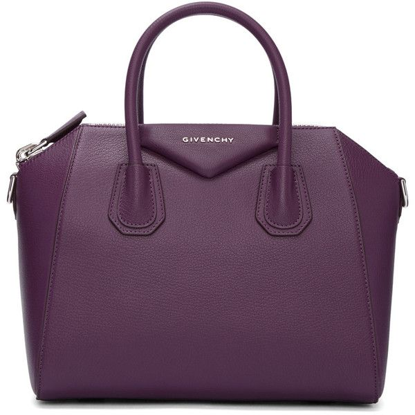 Givenchy Purple Small Antigona Bag (3,065 BAM) ❤ liked on Polyvore featuring bags, handbags, purple, purple purse, studded leather purse, genuine leather handbags, duffel bag and givenchy handbags