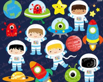Outer Space Clipart Girl Astronauts Rockets by CeliaLauDesigns