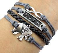 Ручной плетеный браслет винтаж серый шнур слон бесконечность карма надежда браслет