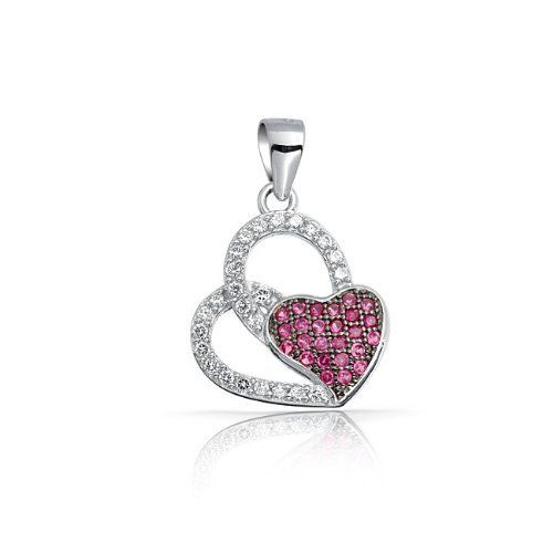 Bling Jewelry Ruby Color Cubic Zirconia Double Heart Sterling Silver Pendant Bling Jewelry. $29.99. Ruby colored heart design. Chain is not included. Pendant is 9in long and 5in wide. Weighs 1.1 grams. Made of 925 sterling silver