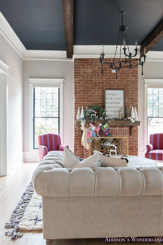 Our New Mantle Living Room Tour Living Room Ceiling Brick Living Room Home Living Room