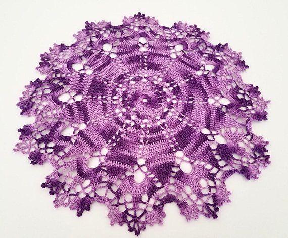Handmade crochet doily, multi color purple, dark purple with light purple, 12.5 inch large doily