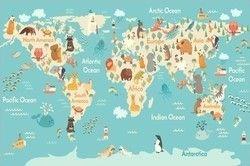 Карта с животными каждый континент, фотографические обои