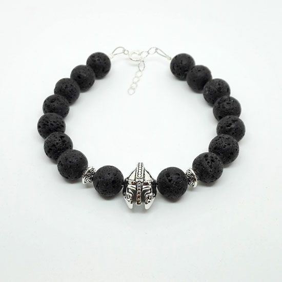 HANDMADE BRACELET BLACK LAVA SPARTAN SILVER with Gemstones of Black Lava 10mm, Silverplated Metallic Helmet and Silver 925 Chain and Clasps.
