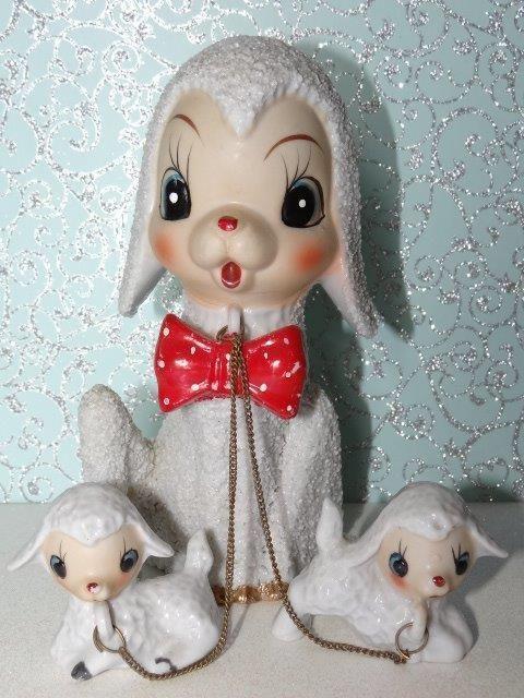 Vtg Anthropomorphic Salt Glaze Mama Lamb W Babies On