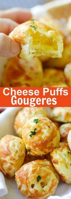Cheese Puffs (Gougeres) – best and easiest recipe for puffy, light and airy French cheese puffs. Loaded with mozzarella and parmesan cheese, so good | http://rasamalaysia.com
