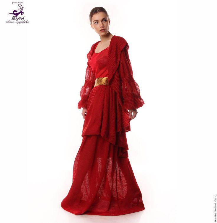Купить Костюм вязаный тройка Рубиновый Цветок во всех цветах и размерах - кардиган вязаный