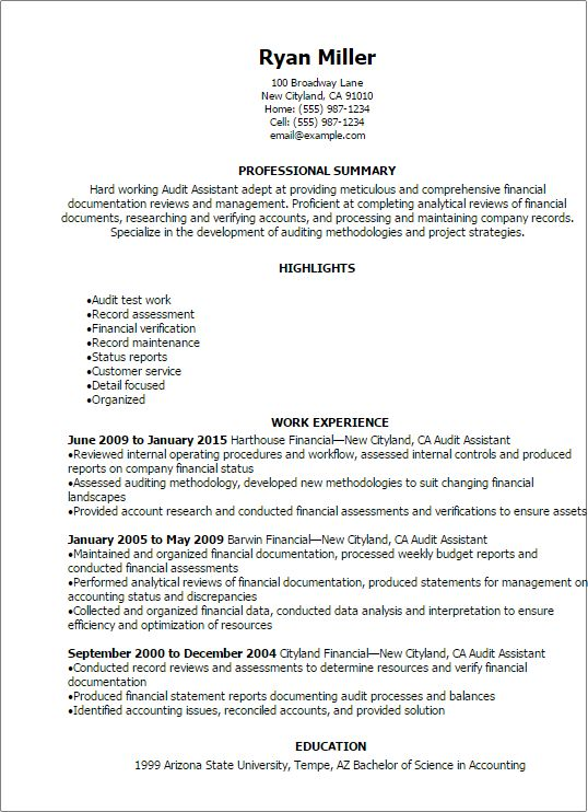 Resume Templates: Audit Assistant Resume