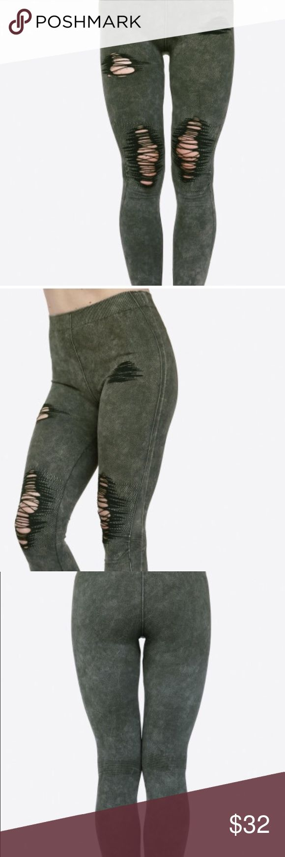 distressed olive green vintage washed leggings Lady's Distressed Vintage washed Leggings featuring elastic waist, stretchy fabric, distressed denim print, and finished with a curvy tight fit.   • Long, skinny leg design  • Distress Detailing  • Comfortable Elastic Waistband  • Denim Print  • Pull-on styling  • Cotton/Polyester  • Machine Wash Warm with similar colors using Gentle Cycle.   Composition: 65% Cotton, 30% Polyester, 5% Spandex Pants Leggings