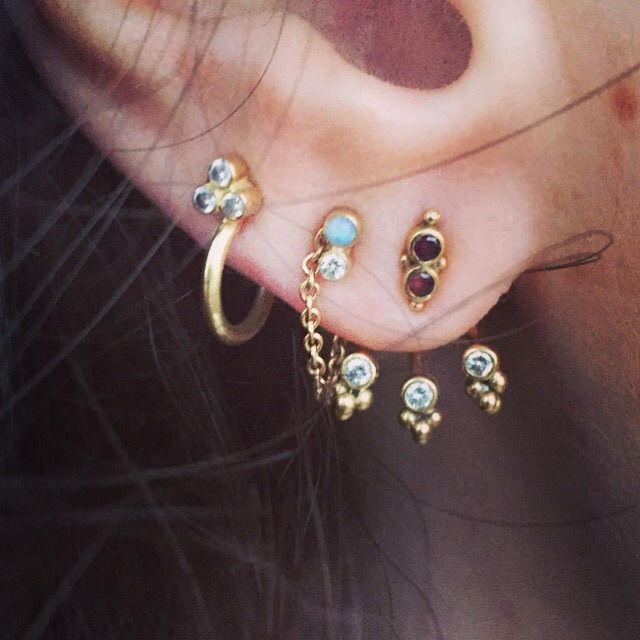 14k Yellow Gold Ear Jacket With Tiny 0 03 Vsi Top Wesselton