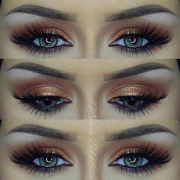21. Rose Gold Glitter Eyes Rose gold glitter eyes look stunning. As you can see from this photo, glitter is only on the eyelid. I know it is hard not to get glitter everywhere but try to keep to the eyelid alone for this look. 22. Green Smokey Eye Emerald green is a colour you …