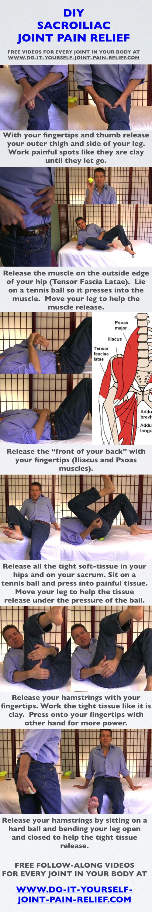 "DIY Sacroiliac Joint Pain Relief - Free follow-along videos and  free pain relief ""Cheat Sheet""..."
