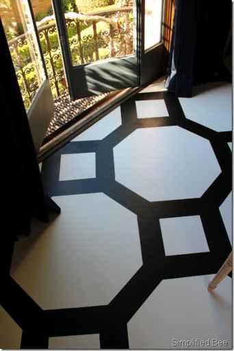 Black & White Painted Floor
