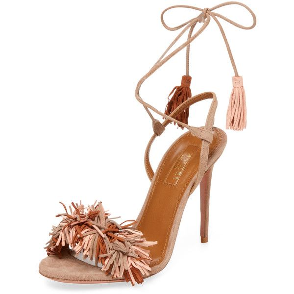 Aquazzura Women's Suede Fringed Sandal - Cream/Tan, Size 36 ($599) ❤ liked on Polyvore featuring shoes, sandals, unknown, ankle strap sandals, ankle strap high heel sandals, high heels sandals, strappy heeled sandals and tan heeled sandals