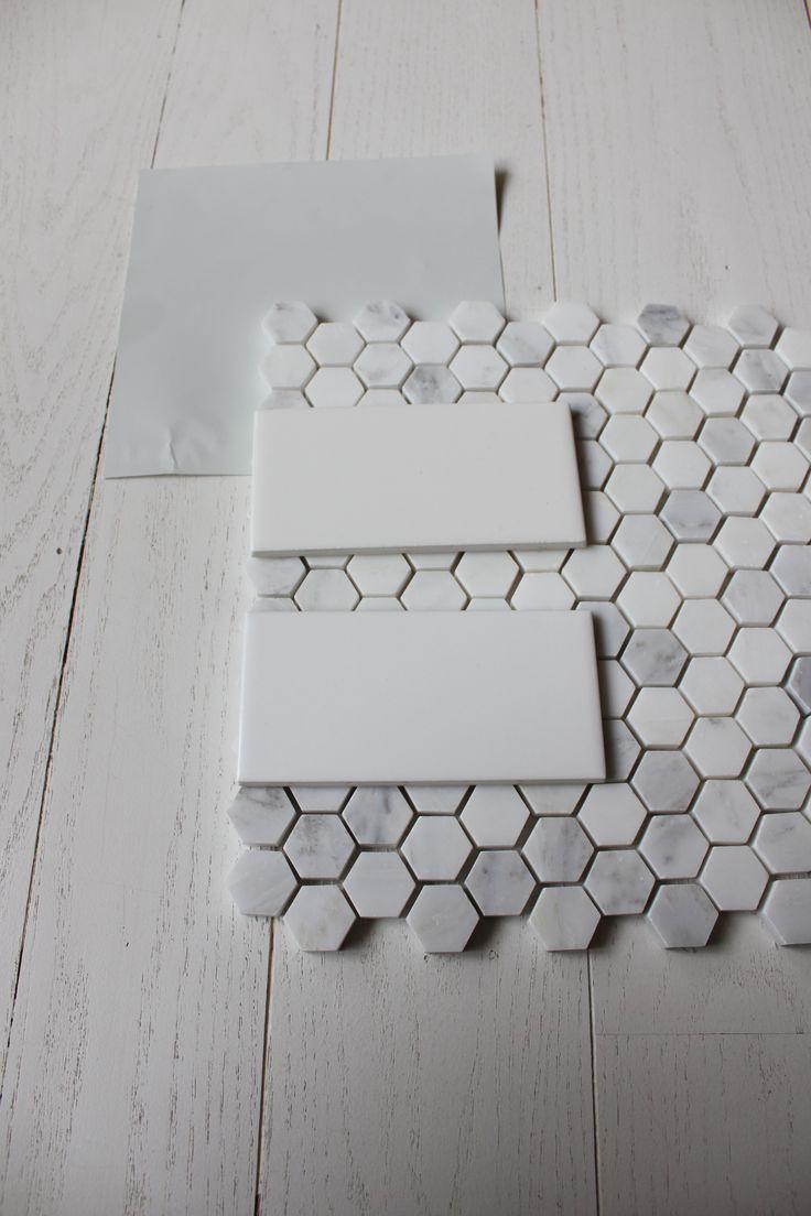 4x6 white subway tile with carrara hex floor tile