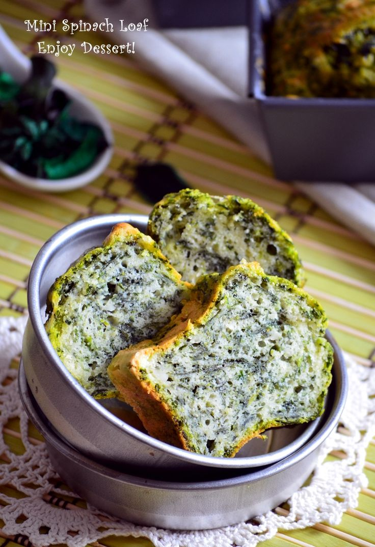 Mini spinach loaves