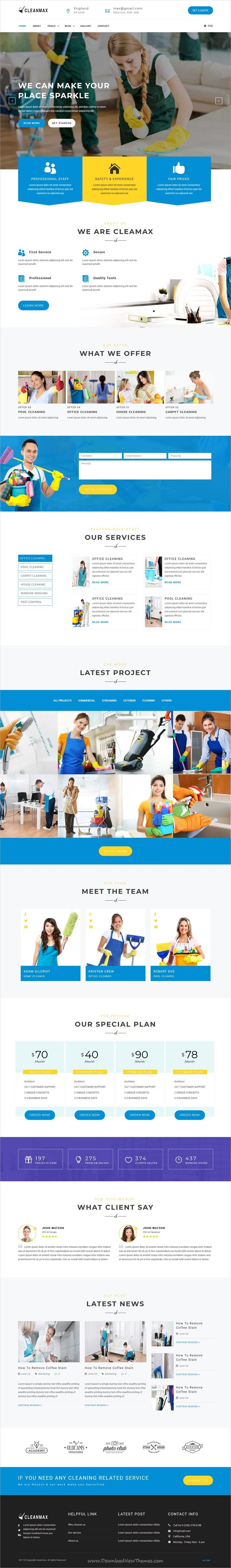 CleanMax is clean and modern design #bootstrap template for #cleaning services company website download now..