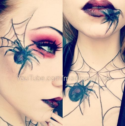 Spider Queen Halloween Makeup! Easy, 3D appearing, spiders, drawn on with EYELINER! Done by MadeULook. Check out the easy video tutorial on youtube.com/madeyewlook!
