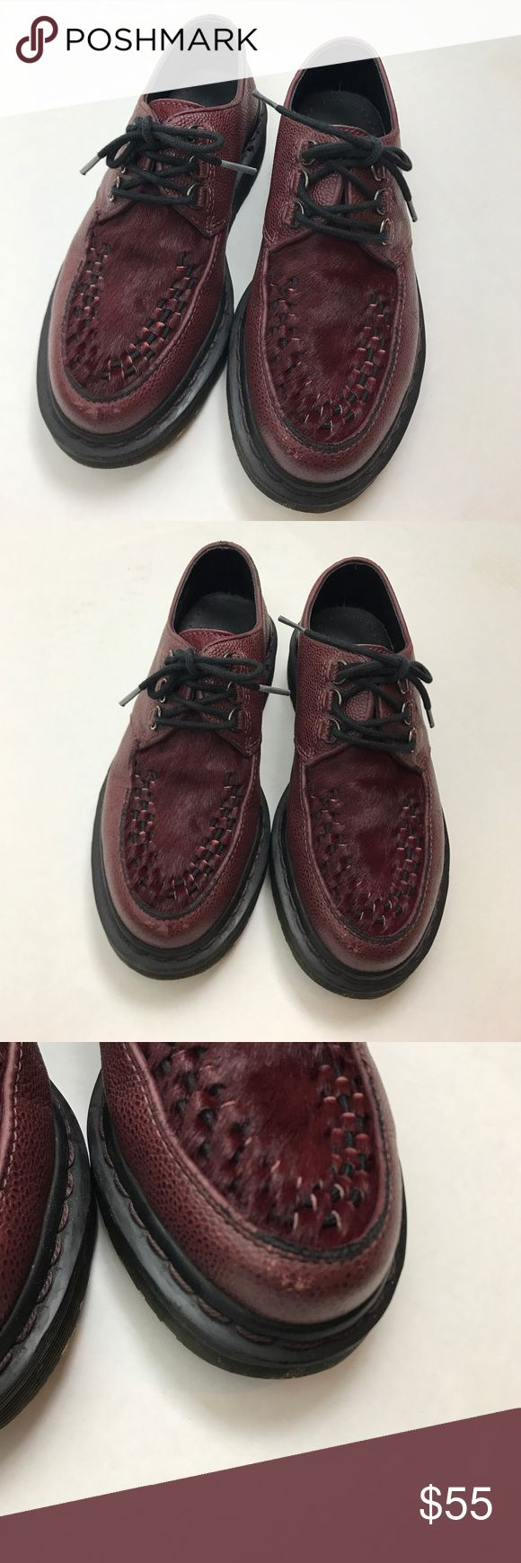 Rare Doc Dr Martens beck Oxblood creeper Awesome pair of Dr Martens d-ring lace up creepers. woven detail on the upper for a unique look. D.C. Scotchgrain +italian hair on toe. Men's size 5, women's size 6. Wear on toes of both shoes as well as around heel of right shoe. Shown in photos. Very clean! Dr Martens Shoes Boots
