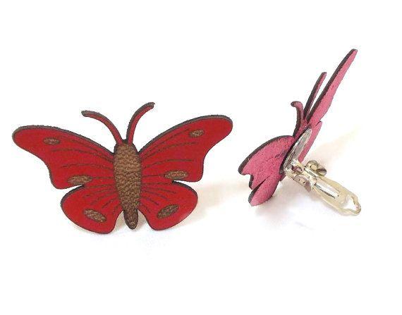 Earring Butterfly Earring Leather Butterfly Clip by CatsAndSheeps, $20.00