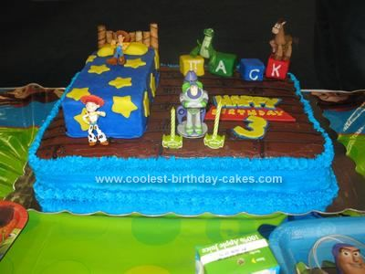Homemade Toy Story 3rd Birthday Cake: My son is obsessed with Toy Story so I wanted to make him a Toy Story birthday cake for his 3rd birthday. After looking at tons of pictures online, I took