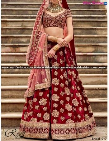 Being a most gorgeous bridal is every girl dream, Fulfill this dream with this Mesmeric Maroon Embroidered Bridal Lehenga from Reet Glamour, finished beautifully with heavy hand embroidery. Pair it up with elegant jewellery to complete the look. We can design this on any fabric or in any color combination for that whatsapp us. For more details Whatsapp us on +919915178418