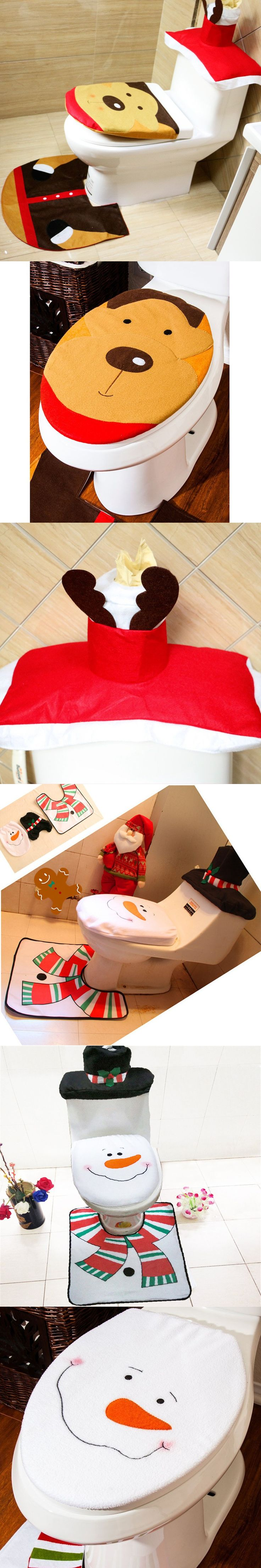 3pcs/set Santa ElkToilet Sets Cover Rug Bathroom Mat Set Christmas Decorations Adornos Navidad Snowman for Home Decoration #3 $10.53
