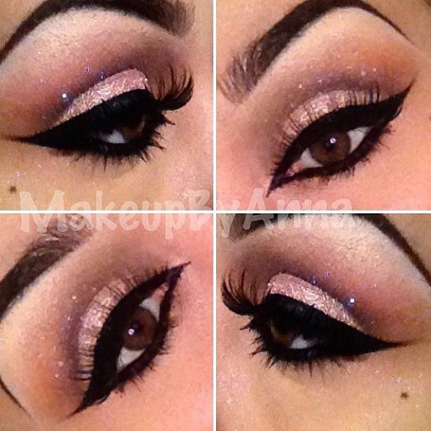 bare minerals- Bahamas loose eyeshadow with mac espresso and red brick, makeup forever loose glitter with bobbi brown gel liner and Mac #21 lashes