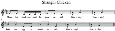 """(P) """"Shanghi Chicken"""" song, egg shaker game; write rhythms on foam eggs, students put in order (ti-tom, 4th/5th) by Amy Abbott"""