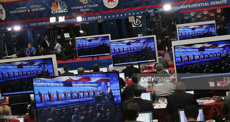 The CNBC Republican Presidential Debate is seen on televisions inside the spin room at University of Colorado's Coors Events Center October 28, 2015 in Boulder, Colorado. Fourteen Republican presidential candidates are participating in the third set of Republican presidential debates.